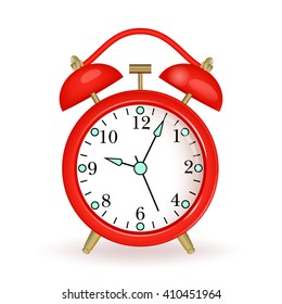 Red alarm clock  on white background. Vector illustration.