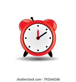 red alarm clock on white background with shadow. The concept of early recovery.