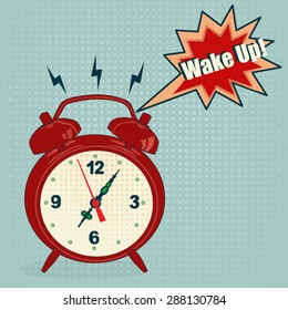 Red alarm clock in pop art style - Vector Illustration
