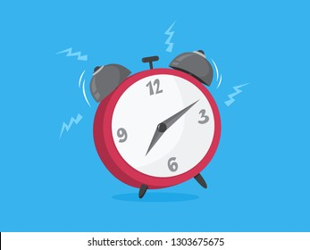 Red alarm clock ring. Wake up timer. Retro reminder. Isolated vector illustration in cartoon style