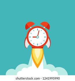 red alarm clock rocket ship with fire and clouds. time, watch, limited offer, deadline symbol. Vector illustration on blue. Time to work. Countdown shuttle