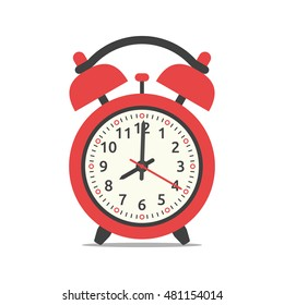 Red alarm clock showing eight o'clock, isolated on white background. Flat design. Vector illustration. EPS 8, no transparency