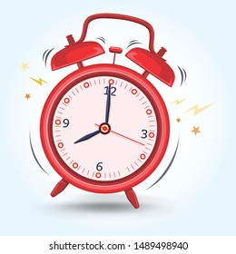 Red Alarm Clock Sounds Up Early Preparing for Morning Activity Vector Illustration