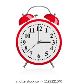 Red alarm clock - vector illustration of retro red watch with wake-up call bells