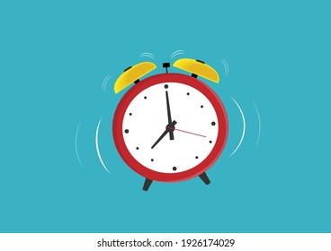 Red alarm clock Vibrating at the set time. Vector Flat Cartoon Illustration.