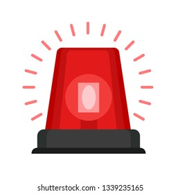 Red alarm fire siren icon. Flat illustration of red alarm fire siren vector icon for web design