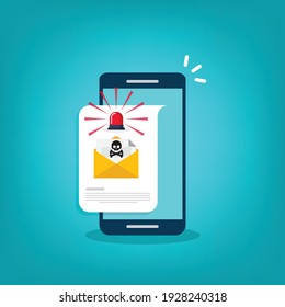Red alert flasher and email, envelope with black document and skull icon notification on a smart phone. Virus, malware, email fraud, e-mail spam, phishing scam, hacker attack concept. Vector