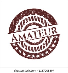 Red Amateur distressed rubber grunge seal