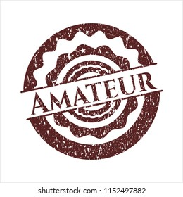 Red Amateur rubber stamp with grunge texture
