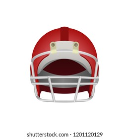 Red American football helmet icon. Front view. Sport equipment logo. Vector illustration isolated on white background.