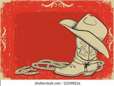 Red American western background with cowboy boot and hat