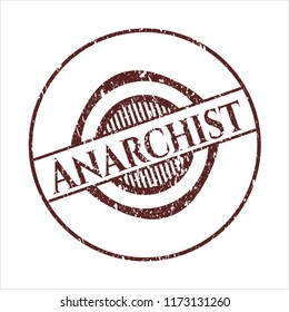 Red Anarchist rubber stamp with grunge texture