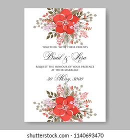 Red anemone Peony wedding invitation vector printable template autumn background