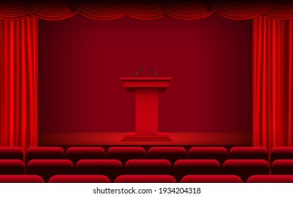 red announcement podium and red curtain on the stage