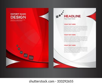 Red Annual report design vector illustration, cover template, brochure flyer layout, booklet, leaflet, company profile, newsletter, presentation, catalog, magazine ads, profile