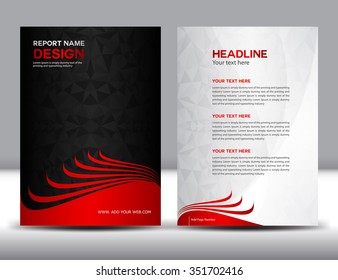 red Annual report Vector illustration, black cover design,brochure flyer,booklet,leaflet,company profile,newsletter,presentation