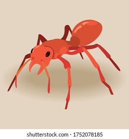 Red ant with black eye cartoon.Vector illustration