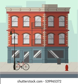 Red apartment building with a shop in the ground floor. Flat vector illustration.