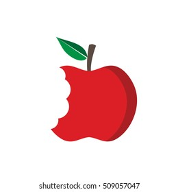 Red apple with bite mark, vector illustration