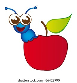 red apple and blue worm cartoon isolated over white background. vector