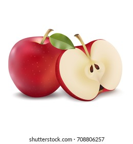 Red apple with green leaf and apple slice. Vector realistic illustration. Fresh isolated fruit