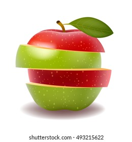Red apple and Green apple slice isolated on white photo-realistic