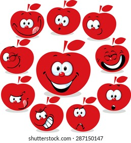 red apple icon cartoon with funny faces isolated on white