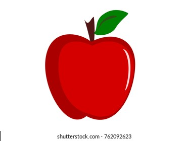 Red apple isolated on white, illustration vector