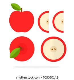 Red apple with a leaf top view. A red apple, a round apple slice with seeds and two wedges of a red apple vector flat material design isolated on white