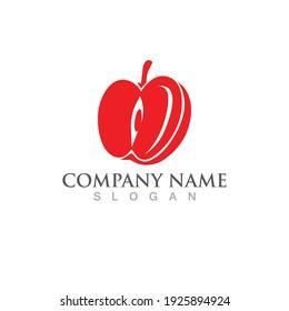 Red apple logo symbol icon, vector image.