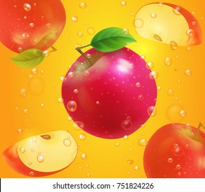 Red apple on juice background with bubbles. Fresh fruit illustration design for packaging