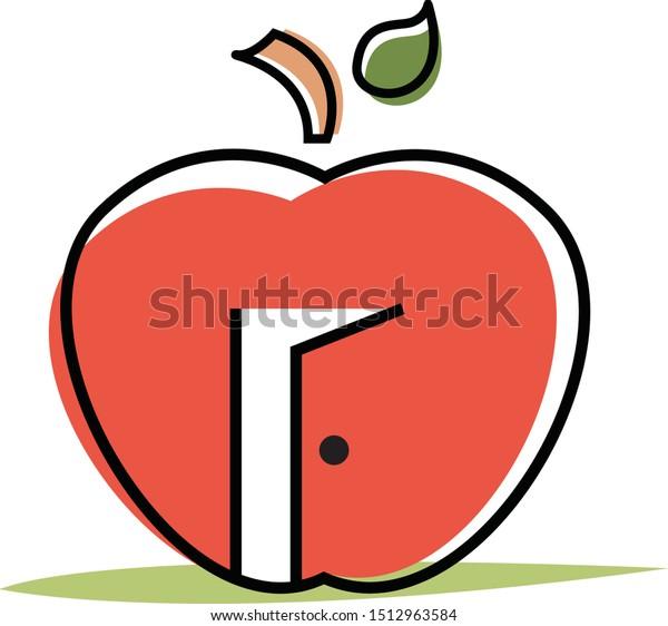 Red Apple with Open Door