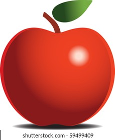 Red apple over the white background