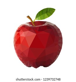 Red apple polygon design. Crystal like great looking red apple vector design.