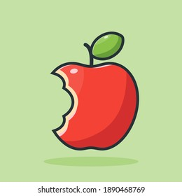 red apple, vector design illustration of bitten red apple icon in flat style with outline on green background