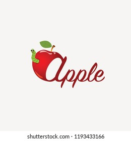 Red apple with worm and letters.