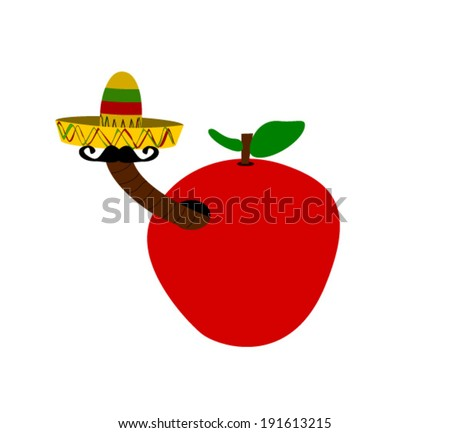 Red apple worm wearing sombrero mustache stock vector royalty free jpg  450x433 Worm with sombrero af336ae5a2a