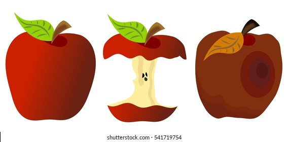 Red apples isolated: whole, eaten and rotten