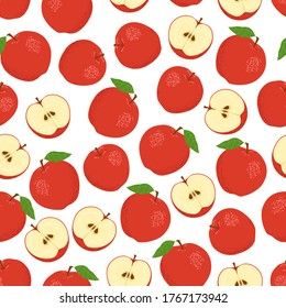 Red apples on a white background. Seamless pattern. Vector illustration.