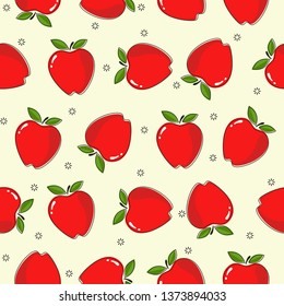 red apples on white yellow background  seamless pattern cartoon style for wallpaper, banner, label, cover, card, texture etc. vector design.