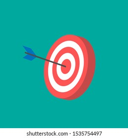 Red archery target icon isometric style.flat design.red and white target icon