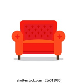 Red armchair in cartoon style, is insulated on white background. Icon for web. easy to use