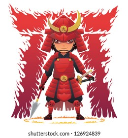 Red Armor Samurai Image of Japanese samurai with armor and weapons. Fiery Japanese letter background. EPS8 vector file.