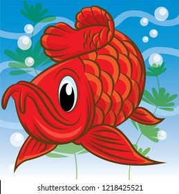 Red arowana fish cartoon, cartoon cute, animal cute
