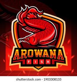 Red Arowana mascot. esport logo design