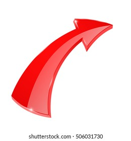 Red arrow. 3d icon. Vector illustration isolated on white background
