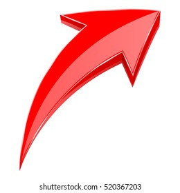 Red arrow. 3d shiny UP rising icon. Vector illustration isolated on white background