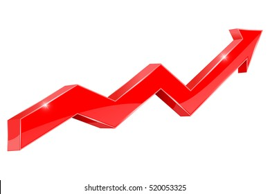 Red arrow chart. Slow rising trend, financial statistics. Vector illustration isolated on white background