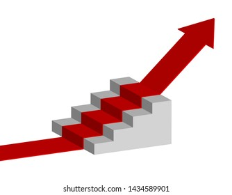 red arrow climbing the stairs, success concept, vector illustration