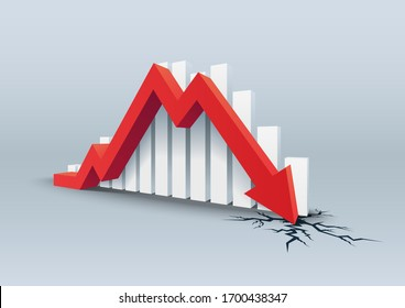 Red arrow crashes through the ground, Falling bars, Vector illustration.